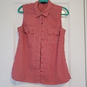 Red and White Striped Button Down Top